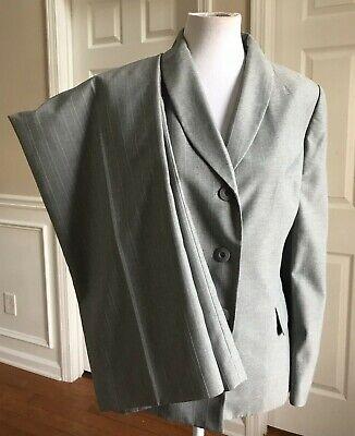 JONES WEAR 2 PC Gray Blue Striped Pant Suit Size 12