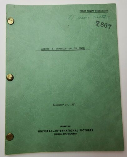 ABBOTT AND COSTELLO GO TO MARS / D.D. Beauchamp, 1951 Screenplay First Draft