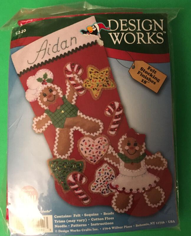 "Design Works Christmas Felt 18"" Stocking Kit ""Gingerbread Friends"""