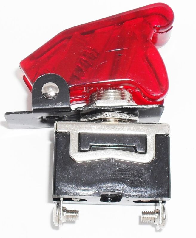 1 SPST On/Off Full Size Toggle Switch with TRANSPARENT RED Safety Cover