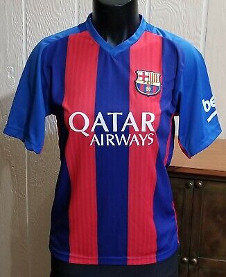 99290985e33 Lionel Messi  10 FC Barcelona Qatar Airways Unicef Soccer Jersey YOUTH Size  6.