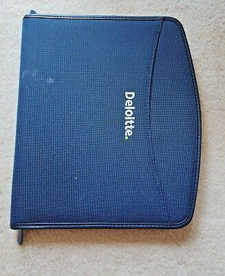 Deloitte Logo Blue Zippered Padfolio Notepad Free Shipping