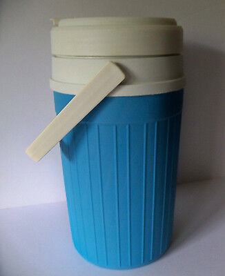 Vintage MID CENTURY FIESTA PRODUCTS Peacock Blue Half Gallon Handle Thermos USA