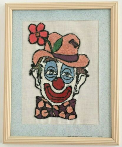 Completed punch needle clown circus happy home decor art vintage framed 12x15