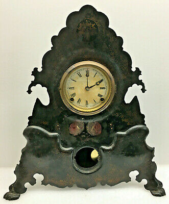 Antique Waterbury Iron Front Mantel Clock