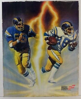 1981 Chargers  Central Federal Savings  Promo Poster   Nfl   K  Akins   16 X20
