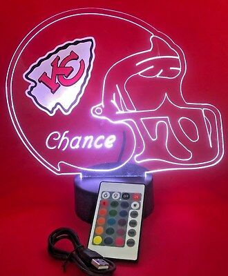 Kansas City Chiefs NFL Football Light Up Light Lamp LED, Remote Personalize Free](Light Up Footballs)