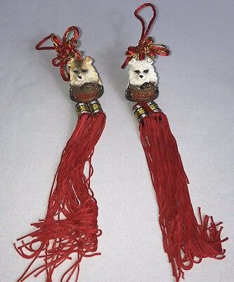 Oriental Chinese Knot Dog Tassels Decorations Wall Hangings Set of 2 Ornaments - Asian Decor