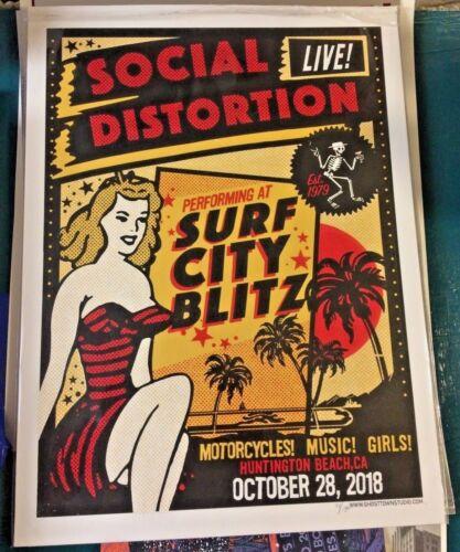 18 SOCIAL DISTORTION HUNTINGTON BEACH SURF CITY BLITZ CONCERT POSTER 10/28 #/150