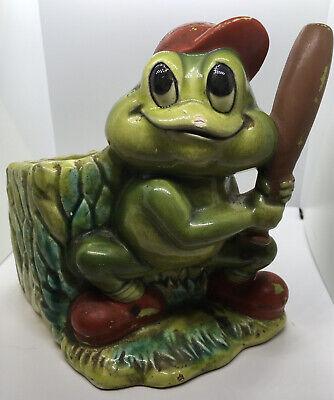 Vtg FROG figurine Lefton JAPAN anthropomorphic baseball player planter holder