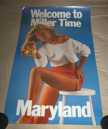 WELCOME TO MILLER TIME MARYLAND SEXY WOMAN PROMO BEER POSTER MAN CAVE