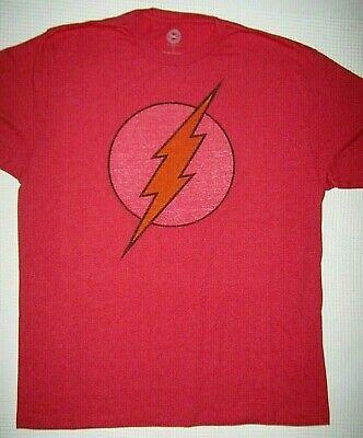 The Flash T-shirt Distressed Red Graphic Tee DC Comics Logo Big Bang Shirt LARGE ()