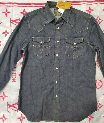 RRL ralph Lauren DOUBLE RL denim western sport Shirt slim fit M dark blue NWT