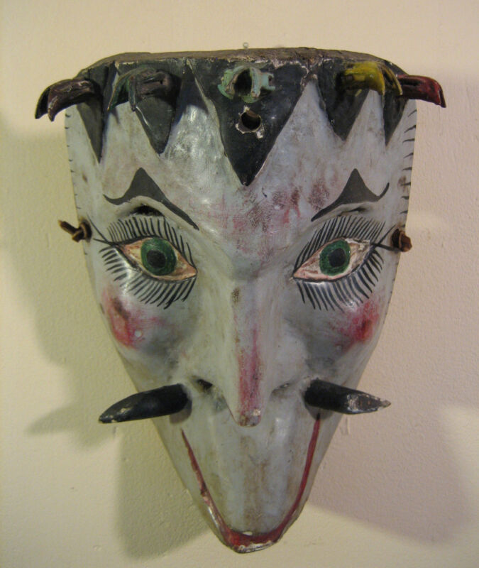 Mexican Procession Carnival Mask Wood Authentic