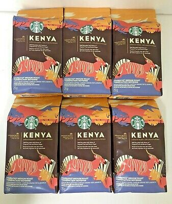 6 STARBUCKS PREMIUM SELECT KENYA BLEND MEDIUM ROAST  WHOLE BEAN COFFEE  3.3 LB