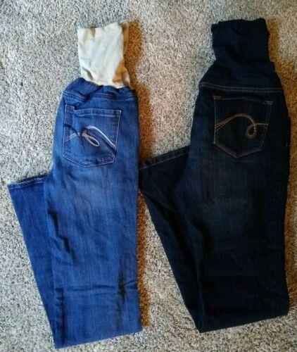 Indigo Blue Size Medium 2 Pairs Lot Maternity Jeans Dark & Medium Wash Boot Cut