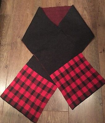ONE SIZE RED/GREY CHECK SCARF TOWIE/WINTER/SPORT/GYM/FOOTBALL/CYCLE/GOLF/RUN