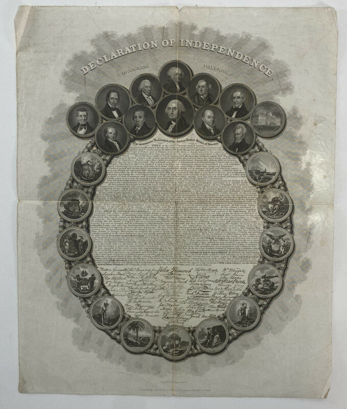 Engraved Declaration of Independence by George G. Smith 1850s States Presidents