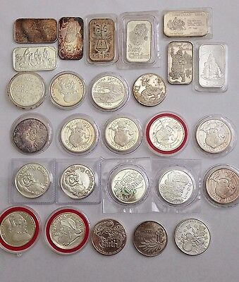 Lot of 27  vintage & new Christmas art silver bars & rounds ~ 0.999 fine silver