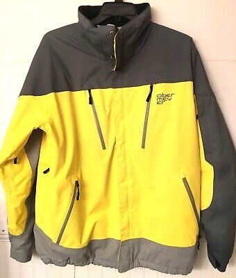Obermeyer Katahdin Mens Ski Snowboard Jacket Coat Parka Yellow Gray Sz L Large