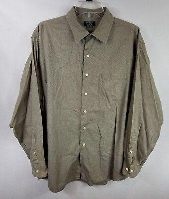 Brooks Sport Button Front Shirt Size XL Houndstooth Pattern Long Sleeve - Houndstooth Long Sleeve Sport Shirt