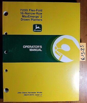 John Deere 7200 Flex-fold 16rn Maxemerge 2 Drawn Planter Owner Operators Manual