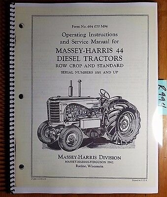 Massey Harris Ferguson 44 Diesel Tractor Row Crop Standard Owner Operator Manual