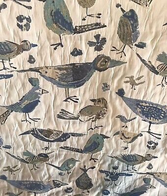 BEACH BIRDS IN SHADES OF BLUE & GREEN DRAPERY UPHOLSTERY FABRIC