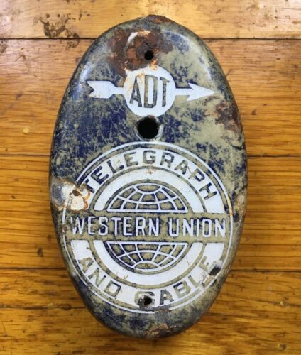 WESTERN UNION TELEGRAPH AND CABLE ADT CALL BOX PORCELAIN COVER ONLY