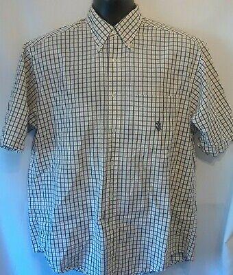 Nautica Mens Shirt Size M Multicolor Check Short Sleeve Button Down Pocket Logo