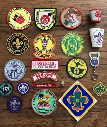 21 BOY SCOUT COSTA RICA & MEXICO Patches-Pin-Scarf Slides-Key Ring-Vinyl Patch