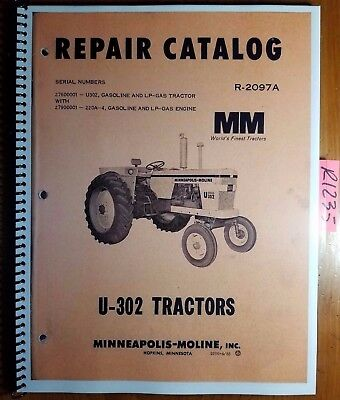 Minneapolis-moline U-302 Super Tractor Repair Parts Catalog Manual R-2097a