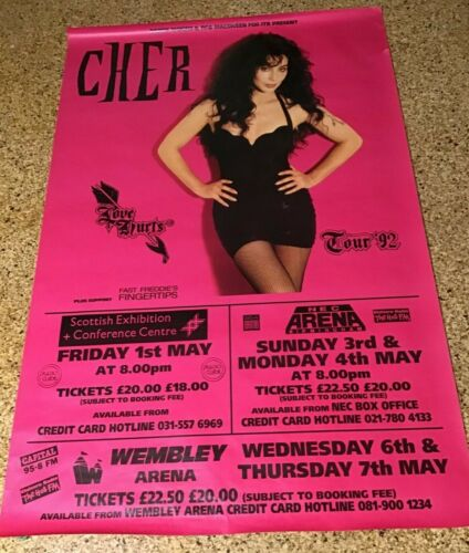 Cher Love Hurts Tour Subway Promo Poster 40 x 60 Glasgow-Birmingham-London-1992