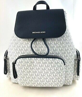New Authentic Michael Kors Large Cargo Travel Backpack PVC & Leather White/Navy
