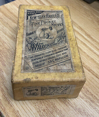 OLD ANTIQUE NEW YORK KNIFE CO WALLKILL RIVER WORKS EMPTY POKET KNIFE BOX Old NY
