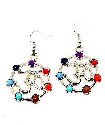 Ohrringe Neu Paar Om Aum Chakra Stil Perlen nach Vorn Gerichtet Boho Alternativ ()