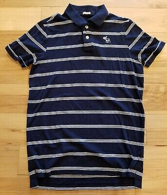 ABERCROMBIE & FITCH Mens Polo Shirt XL Blue Striped Cotton Muscle - Excellent