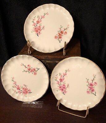 "W. S. George Peach Blossom Bolero Dessert Plates Set Of 3, 6""W X .5""H Pre-Owned Bolero Dessert"
