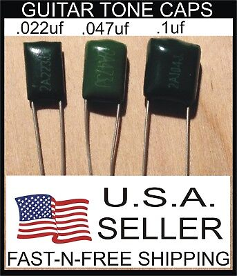.022uf .047uf .1uf 100v Mylar Film Guitar /Bass Tone Capacitor 3 PACK USA Seller