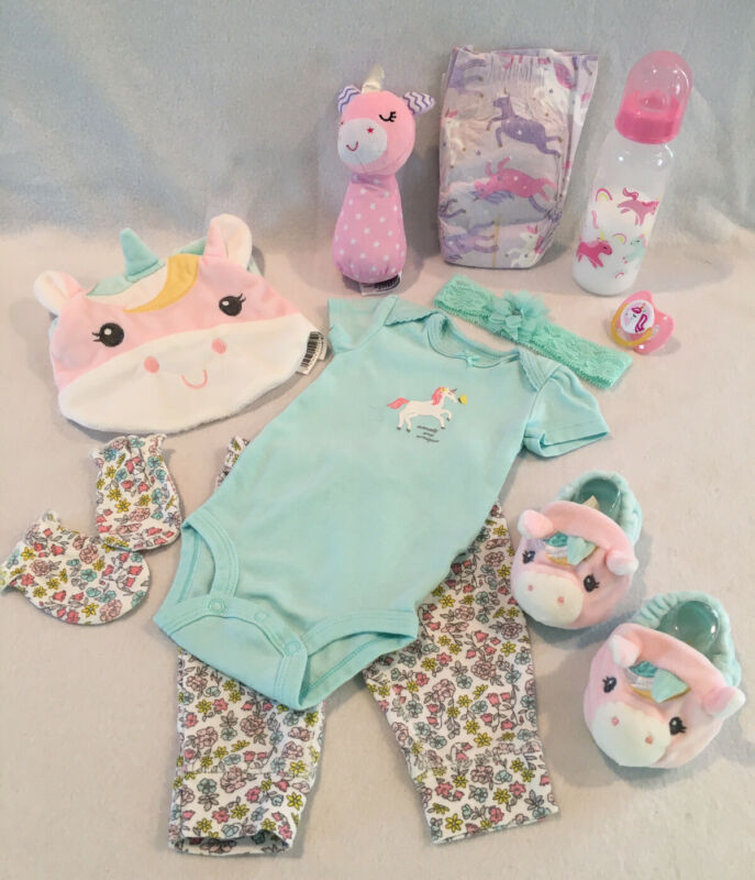 Reborn Baby Doll Unicorn Set W/pacifier, Bottle& Accs