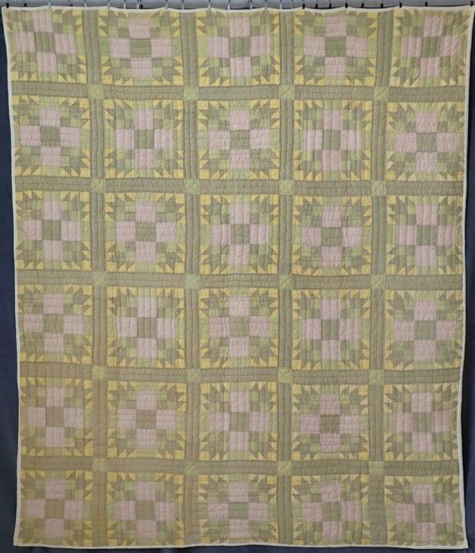 Primitive Heavy Antique Green & Yellow Bear Paw Quilt 79x67