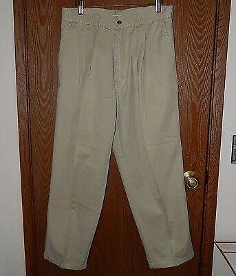(Bugle Boy Men's 34W/28L Tan Khaki Chino Pleated Four Pocket Pants)