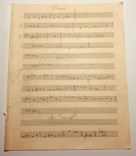 John Entwistle of The Who Owned Handwritten Music Chart Untitled Song w/ COA