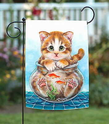 Toland Cat Trap 12.5 x 18 Cute Funny Kitty Fish Bowl Garden Flag](Cute Traps)