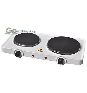 Twin Dual 2 Hot Plate Ring Electric Table Top Hob Portable Cooking Stove Heater