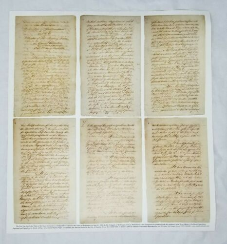 Texas Declaration Of Independence Exact Size Color Print Reproduction