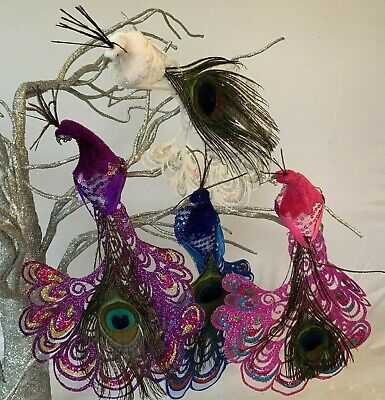 Long Fantail Peacock Clip On Christmas Decoration Bird Vintage Retro Glitter