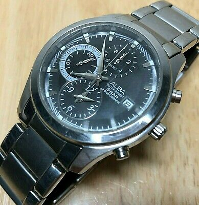 ALBA YM92-X128 Men 50m Steel Analog Quartz Chronograph Watch Hours~Date~New Batt