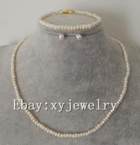2-3mm mini white Baroque fresh water pearl necklace bracelet 7.5 inch & earrings