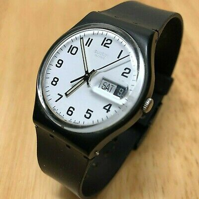 Vintage Swatch Swiss Men Black White Analog Quartz Watch Hours~Day Date~New Batt